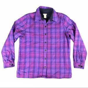 LL Bean Plaid Fleece Lined Flannel Shirt Jacket